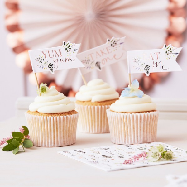 Cupcake Topper Floral Tea Party