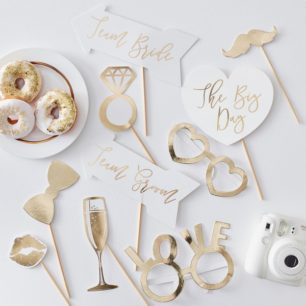 Photo Booth Set Gold Wedding