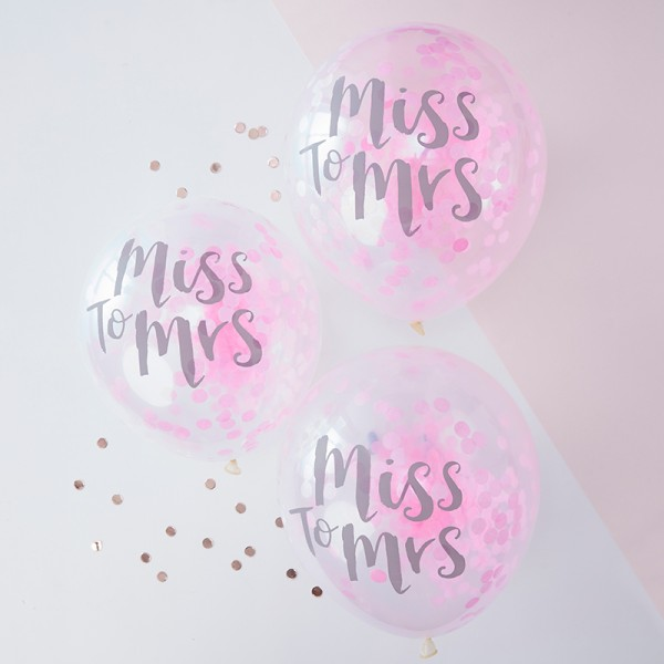 Ballons Konfetti pink Miss to Mrs
