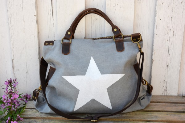 Canvas Shopper Stern hellgrau