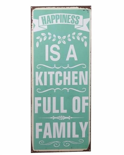 Metallschild 'happiness is a kitchen full of family'