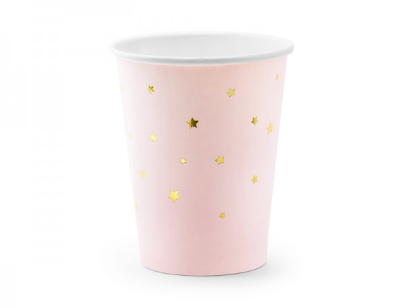 Pappbecher rosa Sterne gold