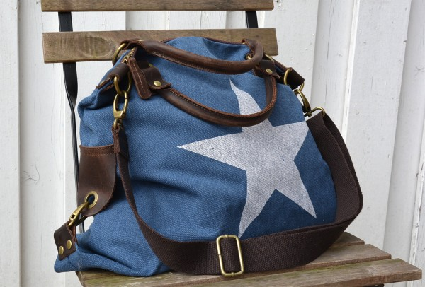 Canvas Shopper Stern blau