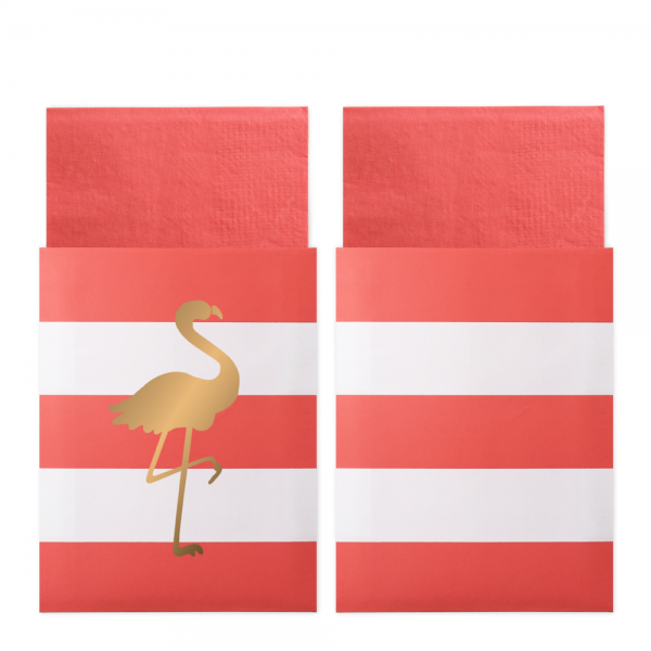 Servietten in Taschen Preppy Flamingo