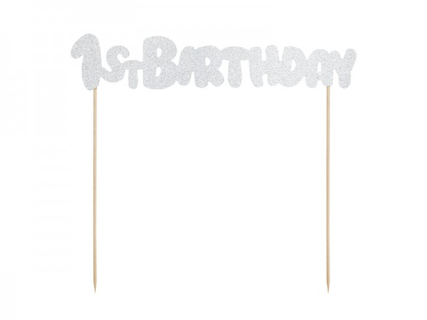 Cake Topper 1stBirthday silber