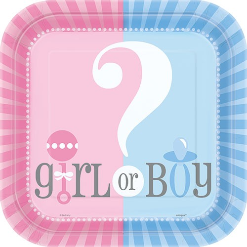 Pappteller Gender Reveal Girl or Boy