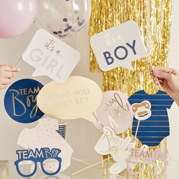 Photo Booth Set Gender Reveal pink & navy