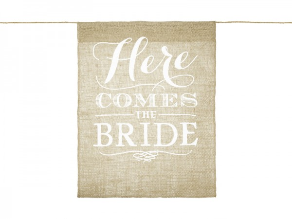 Canvas Banner Here comes the Bride