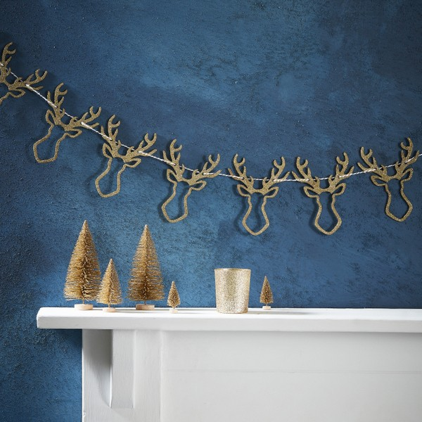Holzgirlande Hirsche Gold Christmas