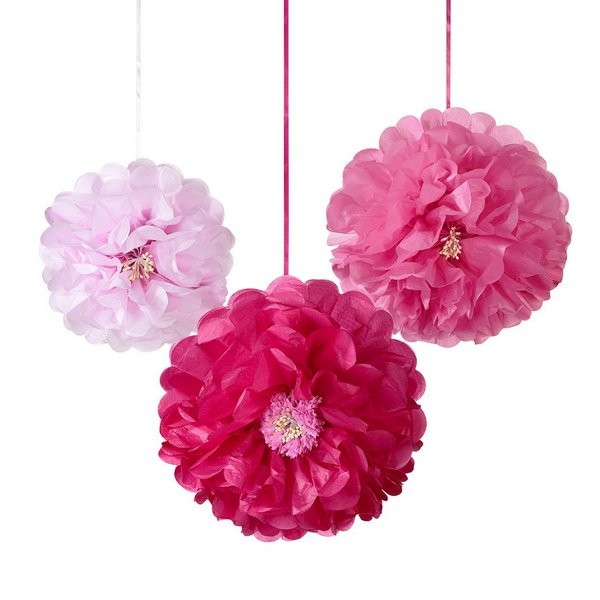 Pompon Set Blumen blush
